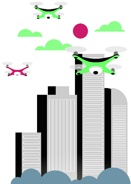 Animated city skyline with drones hovering above