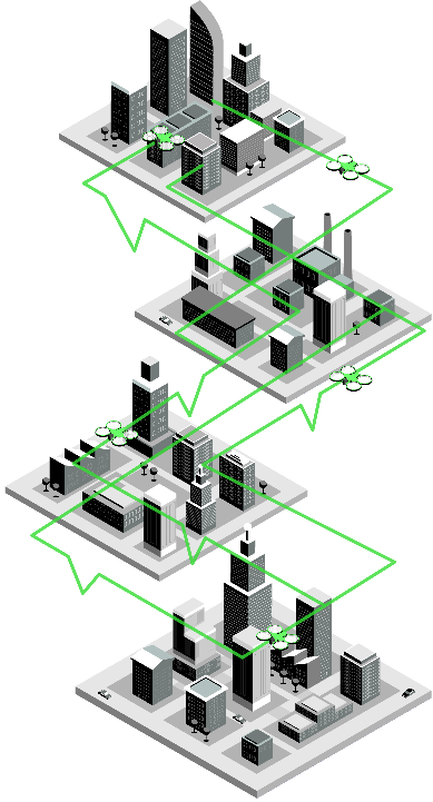 Animated series of miniature square model cities with green outlines running through